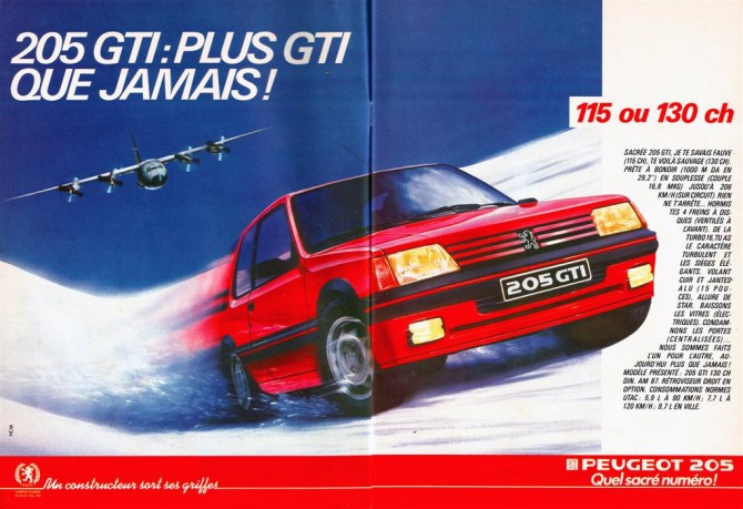 publicit peugeot 205 gti de 1986. Black Bedroom Furniture Sets. Home Design Ideas