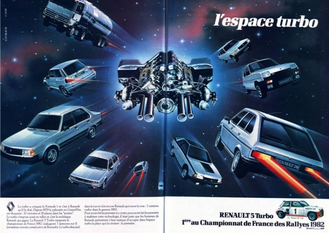 publicit renault l 39 espace turbo 1982. Black Bedroom Furniture Sets. Home Design Ideas