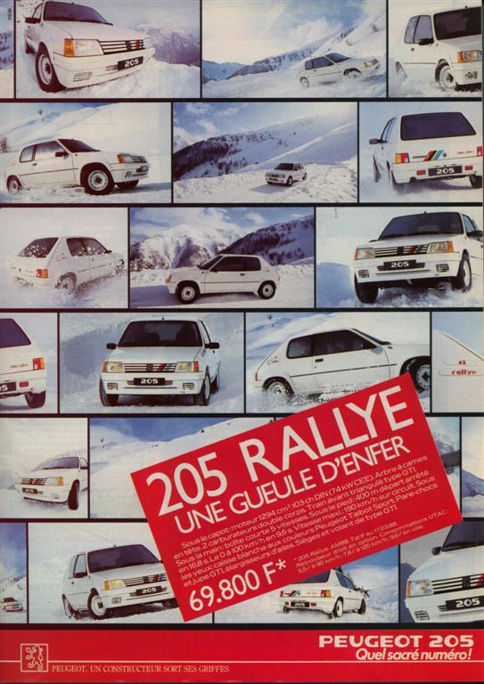 publicit peugeot 205 rallye 1988. Black Bedroom Furniture Sets. Home Design Ideas